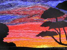 Smalti glass mosaic landscape Australia sunset