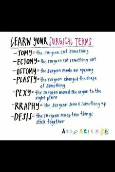 Some surgical terms for you. Helps with grey's anatomy Some surgical terms for you. Helps with grey's anatomy Nursing School Notes, Medical School, Medical Humor, Funny Medical Quotes, Medical Assistant Quotes, Nursing School Humor, Nursing Assistant, Medical Facts, Medical Students