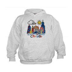 Chicago Cute Kids Skyline Hoodie