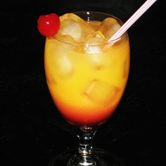 Malibu Sunrise (2 oz. Malibu Coconut Rum 6 oz. Orange Juice .5 oz Grenadine)