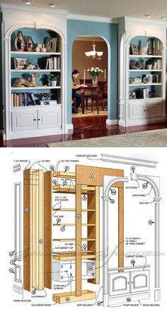 Classic Arch-Top Bookcases Plans - Furniture Plans and Projects | WoodArchivist.com #woodworkingprojects #WoodcraftPlans