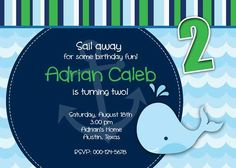 Birthday Party Invitation - Whale Nautical for Boy - DIY Printable Blue Stripes - No picture. $12.50, via Etsy.