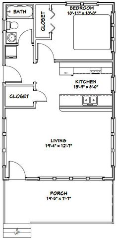20x32 Tiny House -- #20X32H3G -- 640 sq ft - Excellent Floor Plans