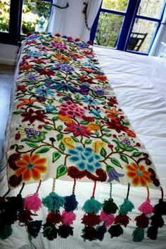 table bed runner embroidered peru off white alpaca wool handmade flowers boho chic bohemian eclectic style peruvian loomed by khuskuy on etsy bed runner embroidered peru off - PIPicStats