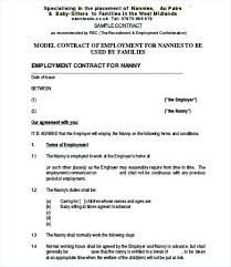 Free nanny contract template samples pdf   word   eforms.