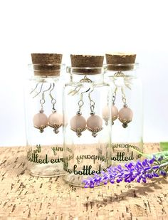 elegant pink earrings. classic times design and a perfect gift from littlebottledearring Pink Earrings, Bead Earrings, Hanging Beads, Decorative Beads, Time Design, Bead Caps, Glass Bottles, Jewellery, Times