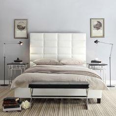 Tower High Profile Upholstered Full Bed iNSPIRE Q Modern (Regular Bed-White Bonded Leather), Black