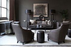 Grey Walls, Rustic Chic, Planer, Living Area, Living Room Designs, Lodges, House, Furniture, Leather Seats