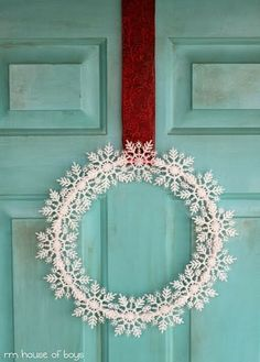 dollar store snowflake wreath...all diff glittery colors