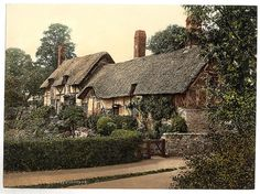 An poster sized print, approx mm) (other products available) - Ann Hathaway& Cottage, Stratford-on-Avon, England. 1890 and ca. Date: - Image supplied by Mary Evans Prints Online - poster sized print mm) made in the UK Anne Hathaway's Cottage, Cute Cottage, Cottage Style, Cottage Design, Cottages England, Storybook Homes, Stratford Upon Avon, Thatched Roof, Cottage Homes