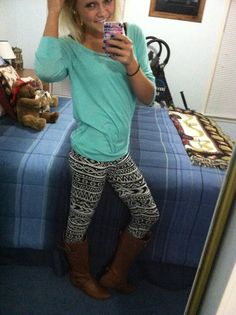 Teal shirt with tribal legging and boots all bought from Charlotte Russe!