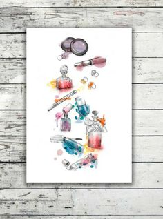 Colorful make up, a cute poster by Valgren Design #nordicdesigncollective #pastel #pastell #light #lightpink #lightblue #lightyellow #lightmint #lightcolor #miavalgren #valgrendesign #makeup #colorful #lipstick #rouge #perfume #nailpoilsh #nailart #lipgloss #jewelry #blingbling #eyeshadow #poster #print #girly