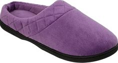 Dearfoams Shoes - Stay warm and comfortable wearing the Microfiber Velour Clog Slipper from Dearfoams. It has a slip-on style for cozy comfort. - #dearfoamsshoes #purpleshoes