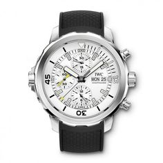 IWC Schaffhausen débuted its Aquatimer diver's watch collection at a celebrity-filled opening at the Salon International de la Haute Horlogerie (SIHH) on the in Genève. Lux Watches, Pre Owned Watches, Watches For Men, Iwc Chronograph, International Watch Company, Iwc Pilot, Stainless Steel, Silver, Technology