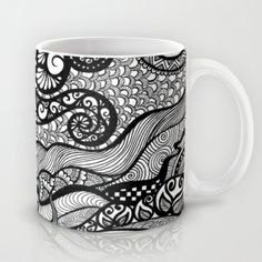 starry night doodled Mug by Goyye - $15.00