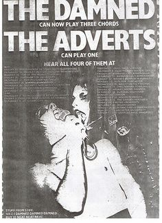 Flyer for the Damned Adverts UK tour, 1977.