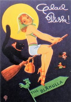 Scandinavian Easter traditions often involve dressing up as a witch and begging for candy. Can we get this started in the US? Retro Halloween, Halloween Pin Up, Holidays Halloween, Halloween Table, Halloween Signs, Halloween Makeup, Halloween Costumes, Vintage Witch Costume, Easter Traditions