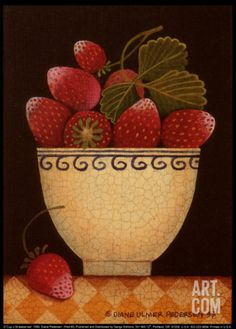 Cup o' Strawberries Art Print by Diane Pedersen at Art.com
