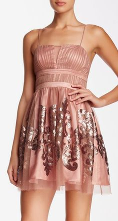 Hailey Logan by Adrianna Papell | Strappy Sequin Pattern Dress
