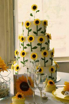 Sunflower tiered cake #spring #sunflowers