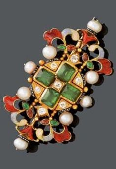 A RENAISSANCE REVIVAL GEMSTONE, PEARL AND DIAMOND BROOCH, by Carlo GIULIANO, ca. 1870. Decorated with enamelled leaf details and set with eight small oriental pearls, four octagonal green tourmalines and seven diamonds. Signed CG. #Giuliano #RenaissanceRevival #brooch
