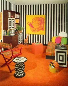 1960's orange and black and white stripes decor