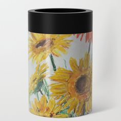 Gerberas in blue vase Can Cooler by evaleowei Cup Holders, Stay Cool, Coolers, Wraparound, Searching, Your Favorite, Construction, Ice, Stainless Steel