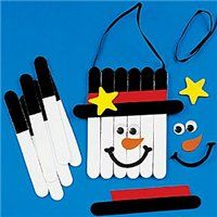 Popsicle sticks snowman banner