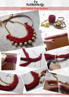 Today I will present you how to make jewelry by yourself: 17 wonderful diy jewelry tutorials. Isn't it amazing to have a different kinds of jewelry? Diy Fabric Jewellery, Thread Jewellery, Textile Jewelry, Beaded Jewelry, Handmade Jewelry, Crystal Jewelry, Silver Jewelry, Braided Necklace, Diy Necklace