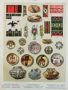 Native American Indian (Pueblo & California, America), Modern Period Textile and Pottery Designs. 1920s Lithograph by Bossert