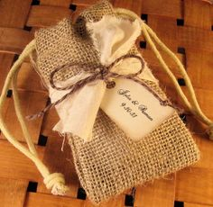 5 Burlap Wedding Favor Bags  Personalized  with by CottageCandies, $8.00
