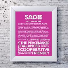 Items similar to SADIE Personalized Name Print / Typography Print / Detailed Name Definitions / Numerology-calculated Destiny Traits / Educational on Etsy Old Irish, Numerology, White Wood, Little Princess, Sadie, Accent Colors, Clear Glass, Letter Board, Color Schemes