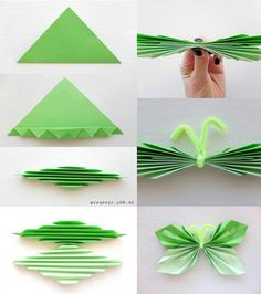 DIY Paper Butterfly Garland DIY Origami DIY Craft For the tiny children so its easier for you.Origami Paper Butterfly: It took me a while to realize that the first photo is of a square paper folded into triangles, then fan folded from each point in the se Kids Crafts, Craft Projects, Elderly Crafts, Kids Diy, Paper Butterflies, Paper Flowers, Beautiful Butterflies, Diy Paper, Paper Crafting