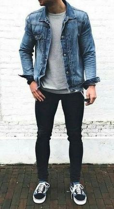Denim jacket outfits Here are some great denim jacket outfit for men and how to style them. Stylish Mens Outfits, Casual Outfits, Men Casual, Black Outfits, Outfits For Men, Hipster Outfits Men, Casual Menswear, Men's Outfits, Polyvore Outfits