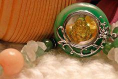 Hotei Smiling Buddha - Pink Jade Rose Quartz Green Aventurine Hematite - 12 Inch Long Necklace