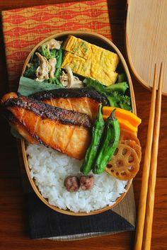 Japanese Grilled Miso Salmon Bento サーモンの西京味噌漬け焼き弁当