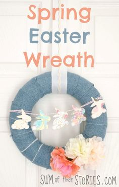 Spring Easter wreath DIY craft project with upcycled jeans     #InspirationSpotlight @DearCreatives