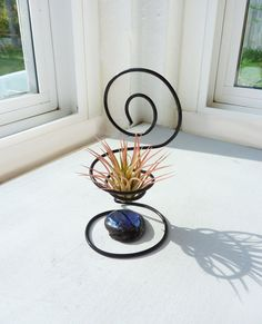 Wire Chair Air Plant Holder with Blue Glass Bead by glassetc,