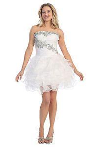 Strapless Rouching Mini Length Plus Sizes Rhinestone Design Bright Dress Flirty | eBay