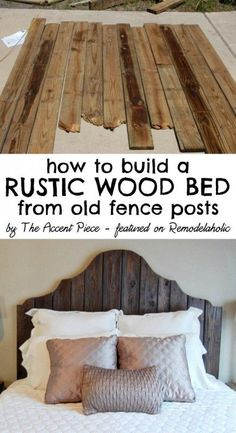 How to build a rustic wood headboard + bed -- The Accent Piece featured on http://Remodelaholic.com #headboardweek #diy #reclaimedwood