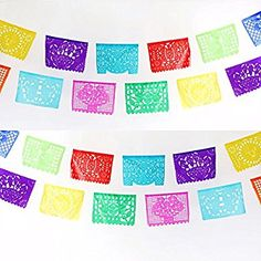 Amazon.com: MEXICAN PAPEL PICADO Banner MEDIUM PAPER Multicolor 16' feet long Bunting: Kitchen & Dining