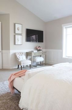 Pierce Residence Alice Lane Home Collection Crystal Artwork Tufted Chair Console Table White Paneling Bedroom Tv Wall, Wainscoting Bedroom, Wainscoting Styles, Small Master Bedroom, Home Bedroom, Bedroom Furniture, Bedroom Decor, Bedroom Ideas, Wainscoting Panels