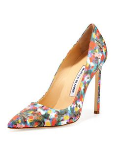 Manolo Blahnik BB Satin 115mm Pump, Floral (Made to Order) - Neiman Marcus 655