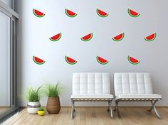 Watermelon Pattern Mini Wall Decals Graphic Vinyl Sticker Bedroom Living Room Nursery Wall Home Decor Monogram Wall Decals, Custom Wall Decals, Home Wall Decor, Wall Murals, Nursery, Living Room, Mini, Watermelon, Design