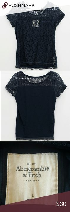 Abercrombie & Fitch lace top Abercrombie & Fitch navy lace top. All lace in front, Jersey knit in back (see photos). 60% cotton, 40% polyester. Mint condition! Abercrombie & Fitch Tops Tees - Short Sleeve