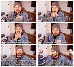 Lol, Aaron discusses the awkward dinner scene between Walt, Skyler, and Jesse