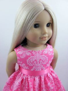 Pink+Damask+Doll+Dress+and+Sash+for+the+by+TheWhimsicalDoll2,+$10.00