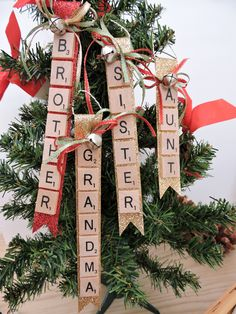 Items similar to Aunt Scrabble Tile, Grandma Christmas Ornament,Brother Ornament, Sister Christmas Tree Decoration,Scrabble Tile Ornament on Etsy Scrabble Ornaments Diy, Scrabble Pieces Crafts, Scrabble Tile Crafts, Christmas Tree Decorations, Christmas Crafts, Christmas Ornaments, Christmas Ideas, Xmas, Bazaar Crafts