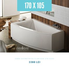 CADĂ ASIMETRICĂ 170 X 105 CM, DREAPTA CLARISSA. Detalii si comanda online pe site  #bathtub #tub #amenajariinterioare #interiordesign #baimoderne #designinterior #KOLO #FANBAIE #cazidebaie #Cluj #Oradea #Arad #Timisoara #Bucuresti Bathtub, Bathroom, Interior, Design, Standing Bath, Bath Room, Bath Tub, Indoor, Bathrooms