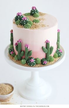 amazing cakes Cactus Cake - how to make a cute cactus themed cake with ombr buttercream, edible sand and piped buttercream cacti. Cute Cakes, Pretty Cakes, Beautiful Cakes, Amazing Cakes, Beautiful Cake Designs, Sweet Cakes, Velvet Cake, Food Cakes, Cupcake Cakes